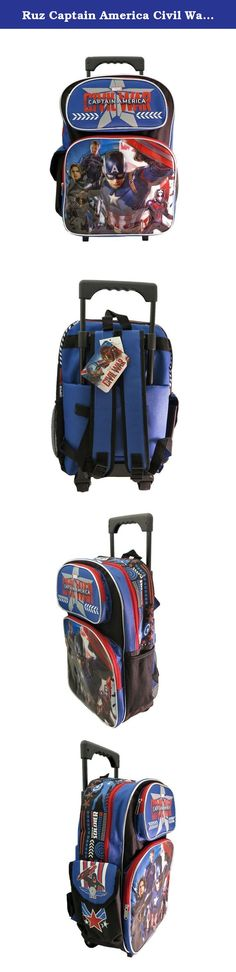 Ruz Captain America Civil War Roller Backpack. Captain America civil War roller backpack bag is a officially licensed cool backpack for back to school. The adjustable straps can be adjusted for a Personalized fit, and the padded shoulder straps make the bag comfortable to wear. This bag has three main compartments with zipper closure for easy and secure access to your belongings and a side mesh pocket and pouch pocket keep for small necessities organized. In poly canvas, detailed embossed...