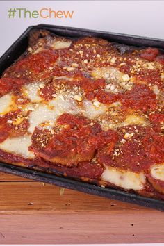Now that's a tasty looking pizza! Make the Pizza Masters' Eggplant Pizza with Sicilian Crust tonight! #TheChew