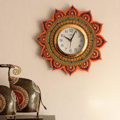 Desi Home Decor Items For The Festive Season Thali Decoration Ideas, Decorations, Decor Ideas, Traditional Clocks, Handmade Clocks, Handmade Decorative Items, Clay Wall Art, Ethnic Home Decor, Orange Paper