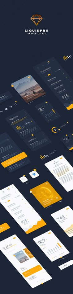 Full preview of LiquidPro Sketch UI kit