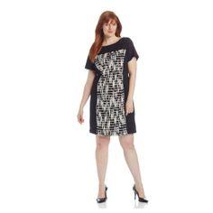 Gabby Skye Women's Plus-Size Cap Sleeve Graphic Sheath Dress