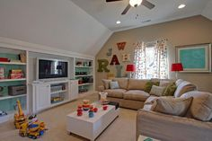 Find ideas and inspiration for Bonus Room to add to your own home. Designs for Your Home - Tags: above garage bonus room ideas, small bonus room ideas, cool bonus room ideas Bonus Room Playroom, Bonus Rooms, Attic Playroom, Attic Game Room, Attic Office, Bonus Room Design, Family Room Design, Attic Renovation, Attic Remodel