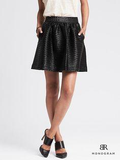 BR Monogram Black Faux-Leather Skirt