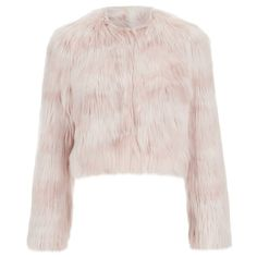 REDValentino Women's Cropped Faux Fur Jacket - Nudo ($295) ❤ liked on Polyvore featuring outerwear, jackets, tops, coats, pink, pastel pink jacket, fake fur jacket, fleece-lined jackets, cropped jacket and pink jacket