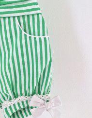 Runaway Pony Green Vintage Inspired Romper Strawberry Sundae