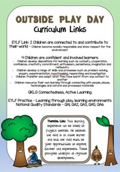 This fantastic resource contains many Nature Play documents including posters of the benefits of barefoot play the benefits of nature play curriculum links learning story templates with links to theorists 22 task cards and an Outside Play Day certificate Play Based Learning, Learning Through Play, Early Learning, Early Education, Early Childhood Education, Eylf Learning Outcomes, Learning Stories Examples, Planning Cycle, Family Day Care