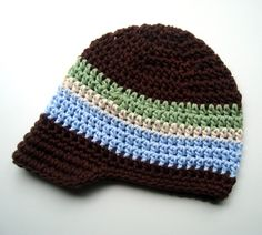 Baby/Infant/Toddler/Boys+Crochet+Visor+BeanieChocolate+by+Karenisa,+$22.00