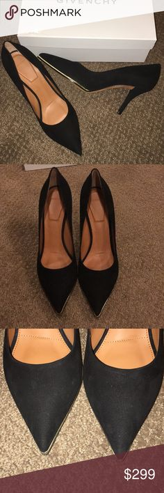 "Givenchy Black Suede Pointy Toe Heels Authentic never worn Suede shoes. Pointy toe w gold trim. Stain on bottom as pictured. Approximately 3"" heel.  Original box and dust bag. Givenchy Shoes Heels"
