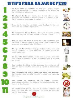 Tips para bajar de peso #Nutrición y #Salud YG > nutricionysaludyg.com