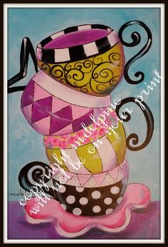 Tea cups Coffee cups print whimsical colorful stylized por AdoraArt