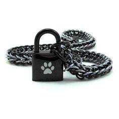 Men's BDSM Slave Collar Paw Print Locking Chainmail Choker Pup Sub Black & Gunmetal by BrainofJen on Etsy