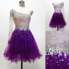 Grape Homecoming Dress,One Shoulder Homecoming Dresses,Tulle Homecoming Gowns,Short Prom Gown,Purple Sweet Dress,Glitter Homecoming Dress