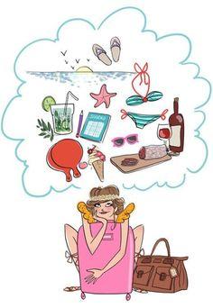 Muy buenos días!! Ya es viernes y una coge vacaciones!! Que más se puede pedir? Pues sí saliera el sol no estaría mal, no? Feliz día!! ❤ #ilustraciones #magaliedessine #vacaciones