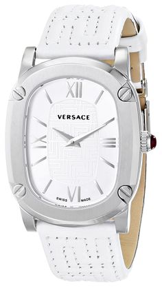 Versace Women's VNB020014 COUTURE Stainless Steel Watch with White Leather Band. Oval watch featuring Greca-patterned dial center, screw-down bezel, and Roman numeral hour markers. 30 mm stainless steel case with anti-reflective sapphire dial window. Swiss quartz movement with analog display. Leather band with Greca-pattern stitching and deployant-buckle closure. Water resistant to 30 m (99 ft).