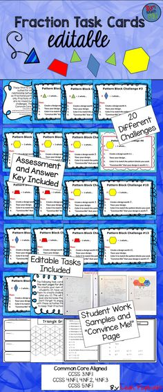 I love these! My kids love these! Even my principal loves these! If you need activities to keep your students motivated, engaged, and still learning at the end of the year...This.Is.It! My students LOVED these hands-on fraction challenges. They were completely involved. They challenged themselves and were very creative. There are 20 tasks given plus editable tasks. Really love this resource!!! 3.NF.A.1, 4.NF.A.1, 4.NF.A.2, 4.NF.B.3, 5.NF.A.1