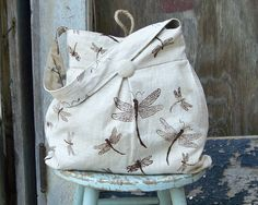 Dragonfly Bag Large Reversible Hobo Bag - - Tea Stained Dragonflies and Black Birds by retrofied on Etsy https://www.etsy.com/listing/76748127/dragonfly-bag-large-reversible-hobo-bag