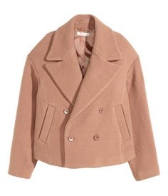 Short, powder pink jacket in a felted, textured wool blend. Wide notched lapels, side pockets, and decorative buttons at cuffs. Lined.    H&M Pastels