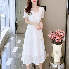 Long Skirt Top Designs, Long Skirt And Top, Shoulder Sleeve, Beautiful Dresses, White Dress, Short Sleeve Dresses, Knitted Fabric, Skirts, Size Chart