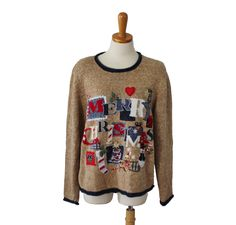 Vintage 80s Busy RED Sweater - Red Cardigan - Ugly Christmas Jumper - Women L Men M by bluebutterflyvintage on Etsy