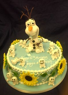 Olaf and snowgies sunflower frozen fever cake. Olaf Birthday Party, Birthday Party Decorations Diy, 3rd Birthday Cakes, Frozen Birthday Party, 6th Birthday Parties, Frozen Party, Birthday Ideas, Frozen Fever Cake, Frozen Cake