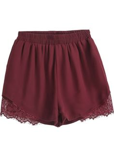 Red Elastic Waist Contrast Lace Chiffon Shorts pictures