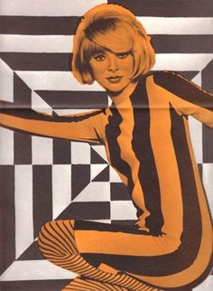 Typical style of pop-art, colour overlays used to create a surreal image instead of what would be just a photo. The overlay creates an alternative perception of the scene. 1960s Mod Fashion, Sixties Fashion, Vintage Fashion, Retro Fashion, Biba Fashion, Trendy Fashion, Fashion Art, Isabella Rossellini, Patti Hansen