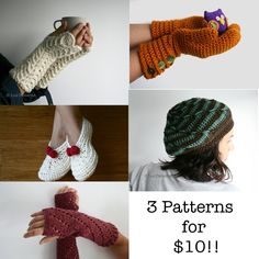 Crochet patterns offer, choice any 3 patterns for only 10 dollars, crochet hat patterns, animal hat patterns, slippers, glovers, arm warmers. $10.00, via Etsy.