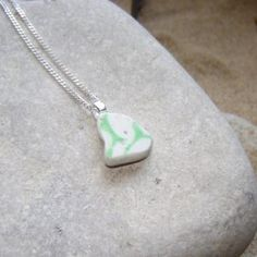 Green & White Sea Pottery Pendant