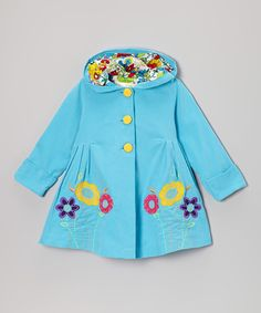 Look at this #zulilyfind! Maria Elena Aqua & Yellow Floral Hooded Swing Coat - Infant & Toddler by Maria Elena #zulilyfinds
