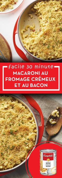 Macaroni au fromage et bacon - Cuisinez avec Campbells Supper Recipes, Great Recipes, Favorite Recipes, Family Recipes, Cheese Recipes, Cooking Recipes, Pasta Recipes, Bacon Mac And Cheese, Good Food