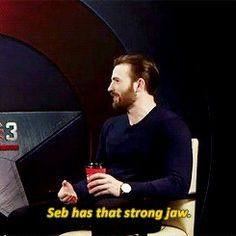 This is from the interview where they ask him to pick Seb or Mackie to be the next Cap. He also mentions Seb is wearing red, white, and blue.