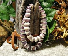 10mm Purple & White Striped Bone Crow Beads, Individually Handcrafted in Unique Colors
