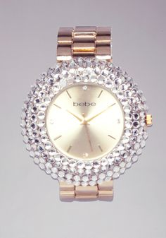 bebe   Bezel Stone Watch - Jewelry - View All If you like the oversized watch look like me, this beautiful one is only $69