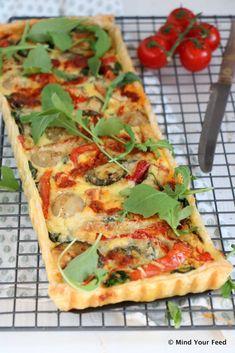 Italiaanse quiche met gegrilde groenten en pesto