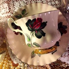 Vintage Royal Albert - English Fine Bone China Tea  Cup & Saucer - Masquerade.