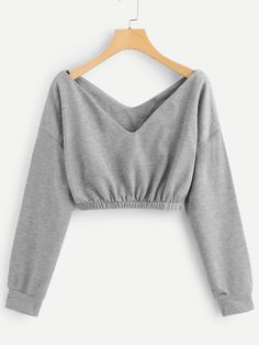 Shop V Neck Crop Sweatshirt online. SheIn offers V Neck Crop Sweatshirt & more to fit your fashionable needs. Shop V Neck Crop Sweatshirt online. SheIn offers V Neck Crop Sweatshirt & more to fit your fashionable needs. Crop Top Outfits, Cute Casual Outfits, Stylish Outfits, Girls Fashion Clothes, Teen Fashion Outfits, Fashion Dresses, Womens Fashion, Fashion Top, Fashion Sewing