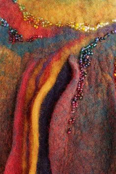 Slashed Felted Vessel closeup -Sharon Costello, Black Sheep Designs