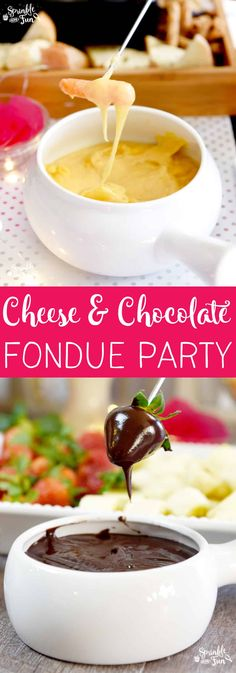 Gathering around a fondue pot is a great way to spend time with people you love. Have a Cheese & Chocolate Fondue Party!  via @sprinklesomefun