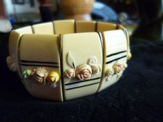 Antique Art Deco Vintage Ivory Celluloid Bakelite Bracelet Applied Pastel Flower  | eBay