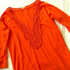 J. Crew Lace Detail Vneck Top EUC vibrant orange 3/4 sleeve top with lace detail around neck. No stains or imperfections. 60% cotton 40% polyester. Fitted. trades smoke-free home. J. Crew Tops Tees - Long Sleeve