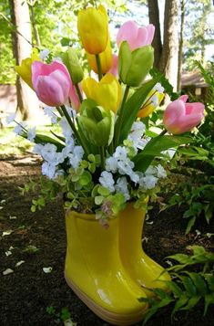 Rainboots With Spring Tulips -