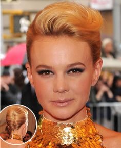 Carey Mulligan's Sleek Updo With Retro Swept-Back Bangs. See more Carey's beautiful hairstyles at http://www.prohaircut.com/celebrity-hairstyle/Carey-Mulligan