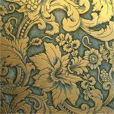 Akros Biancone Gold Tile   #SHMT #gold #floral #tile #BosDesignMarket