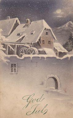 God Jul- Merry Christmas- Swedish- 1913 Vintage Postcard
