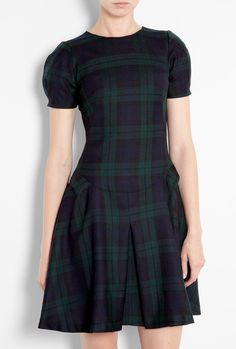 Tartan Origami Wool Capped Sleeve Dress by McQ Alexander McQ