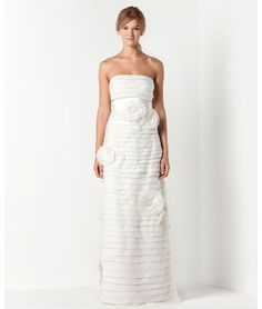 Max Mara Bridal  IPOTESI   Long bustier dress in silk organza with small flounces and silk white origami flowers.