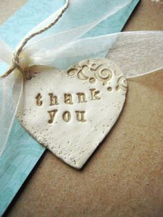 Custom Thank You Gift Tags  Polymer Clay Heart by unconventionalJ, $1.50 http://www.etsy.com/listing/97150890/custom-thank-you-gift-tags-polymer-clay