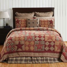 Dawson Star King Quilt by VHC Brands features khaki, burgundy, brown plaid with alternating stars & patch blocks. Colchas Quilt, Twin Quilt, Quilt Bedding, Bedding Sets, Star Quilts, Quilt Blocks, Mens Quilts, Quilt Pillow, Plaid Quilt