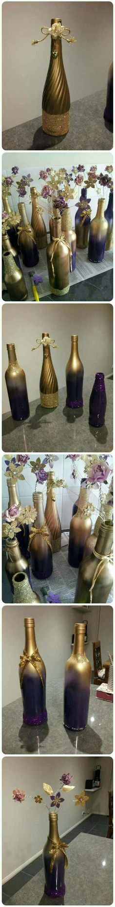 Gorgeous Purple and gold wine bottle decorations #Musely #Tip