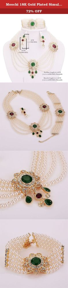 Moochi 18K Gold Plated Simulated Pearl Beads Green Red Round Zircon Necklace Jewelry Set. This gold plated simulated pearl beads Zircon Stones jewelry set is shinning and beautiful with artificial crystal embedded. The color will not fade and we have one year warrant. It is the best gift for yourself, your friends and family.